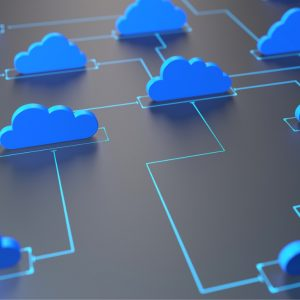 Image for FSLogix blog. Image contains images of clouds connected by wires.