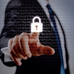 Image for Data Protection Blog. Image of someone pressing interactive security padlock
