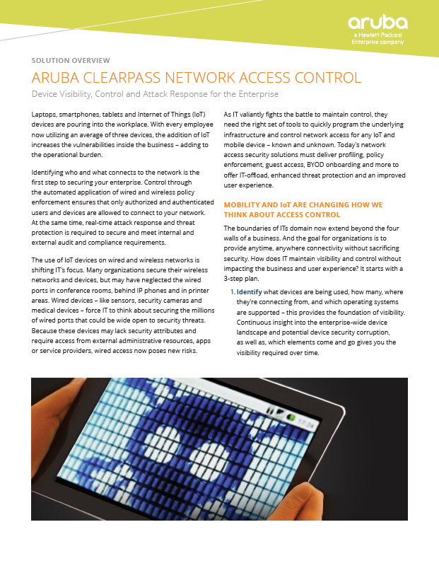 Aruba Clearpass Solution Overview